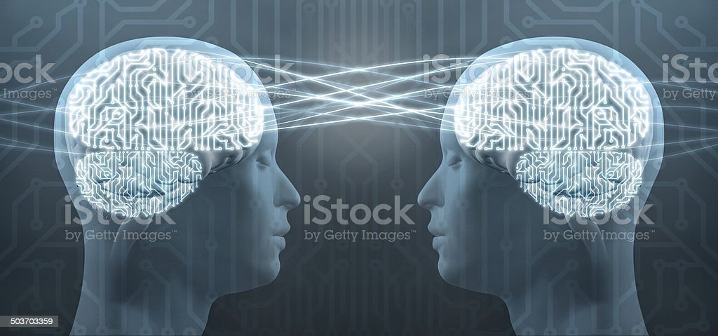 Telepathy: two cyborg human heads and circuit brain, mind control stock photo