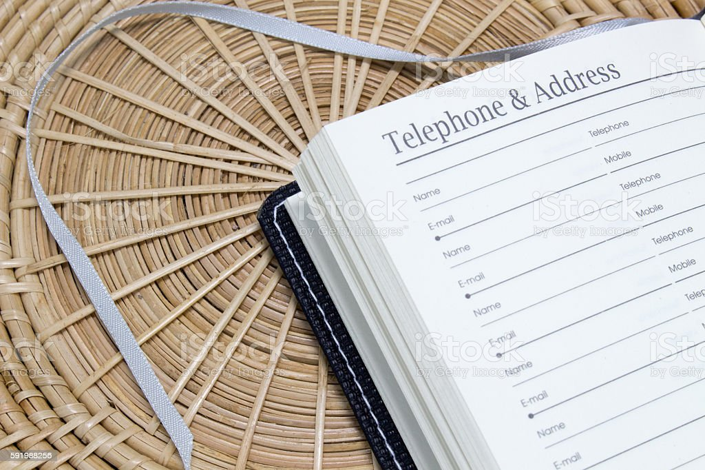 telephone and address notebook stock photo