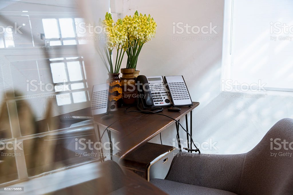 Telephone and flower vase on office desk stock photo