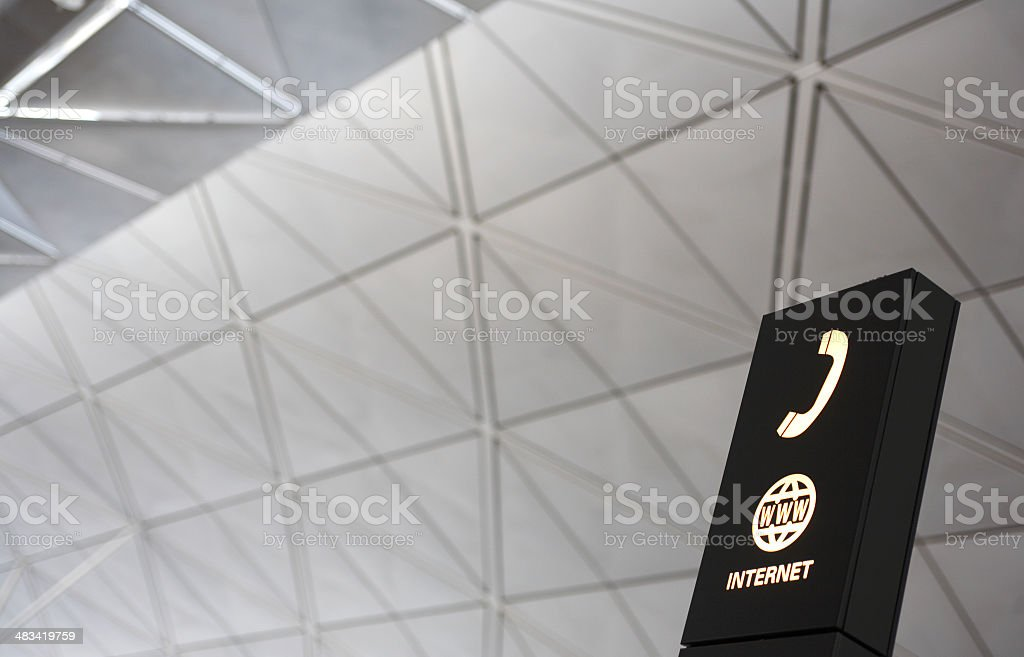 Telephone and Internet sign at the airport royalty-free stock photo