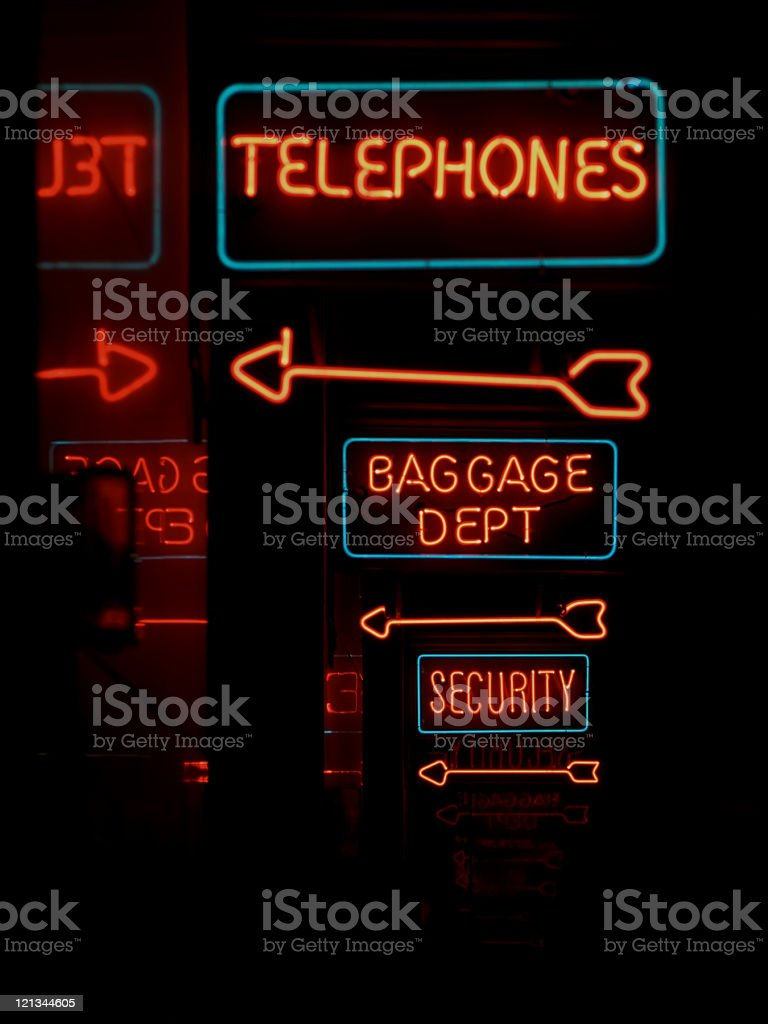 Telephone Baggage and Security neon signs royalty-free stock photo