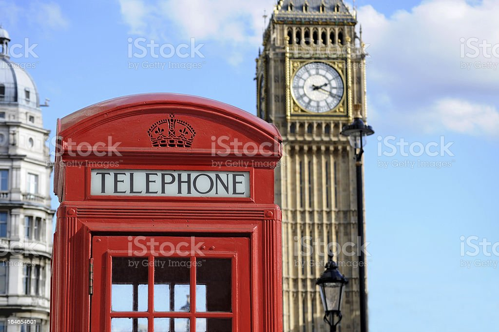 Telephone booth and Big Ben royalty-free stock photo