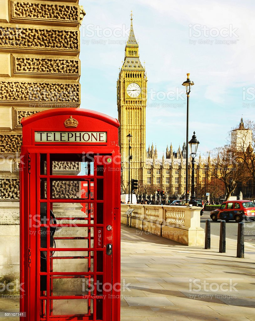 Telephone booth and Big Ben stock photo