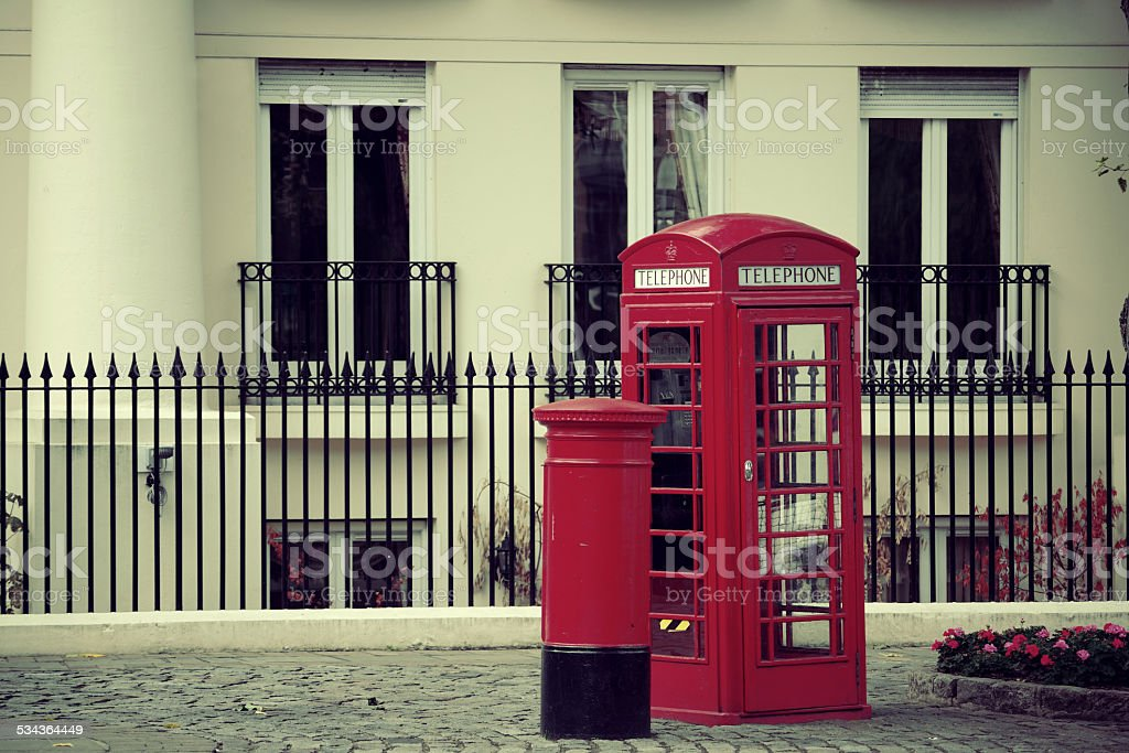 telephone booth and mail box stock photo