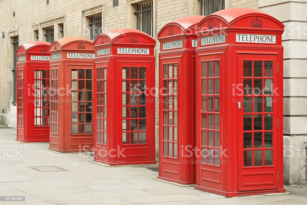 Telephone Booth Row royalty-free stock photo