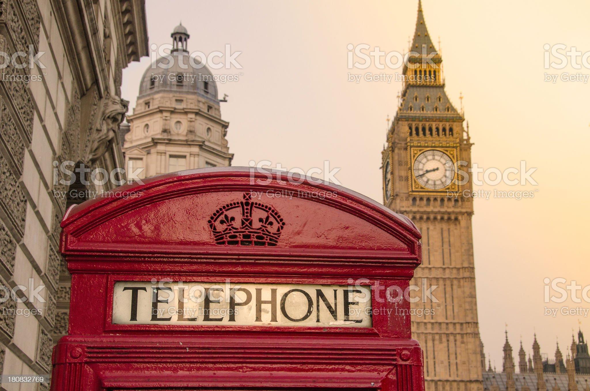 Telephone Box and Big Ben - London royalty-free stock photo