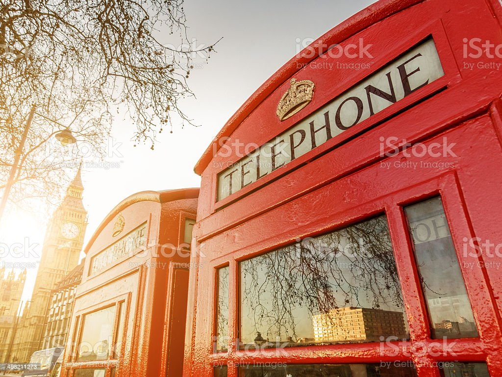 Telephone boxes and the Clock Tower in London stock photo