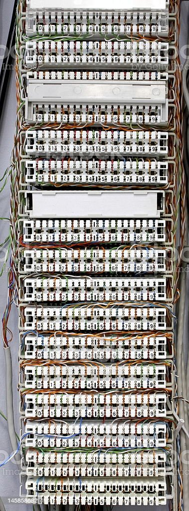Telephone cable panel stock photo