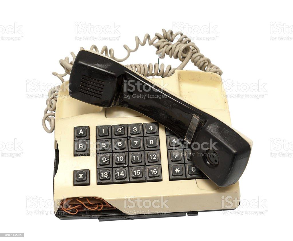 Telephone collection - crashed phone on white background royalty-free stock photo