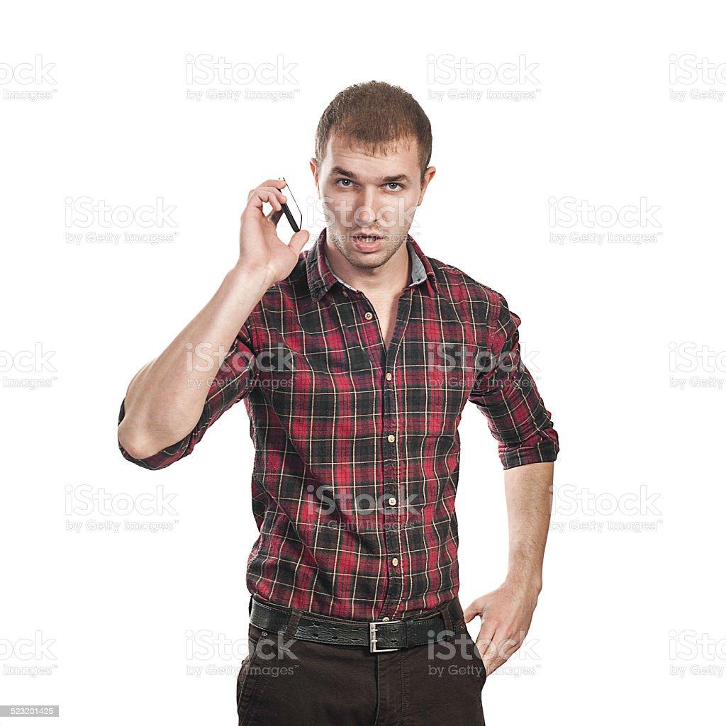 telephone conversation stock photo