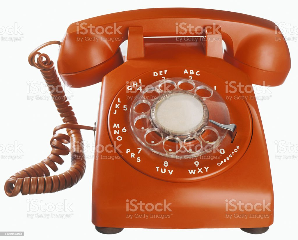 telephone cut out on white stock photo