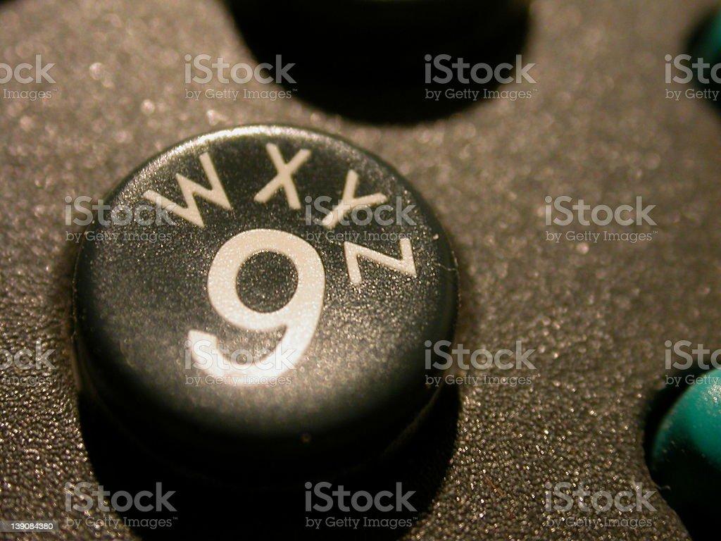 telephone digit 9 - WXYZ royalty-free stock photo