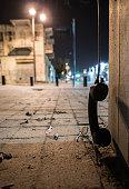 telephone handset on the street