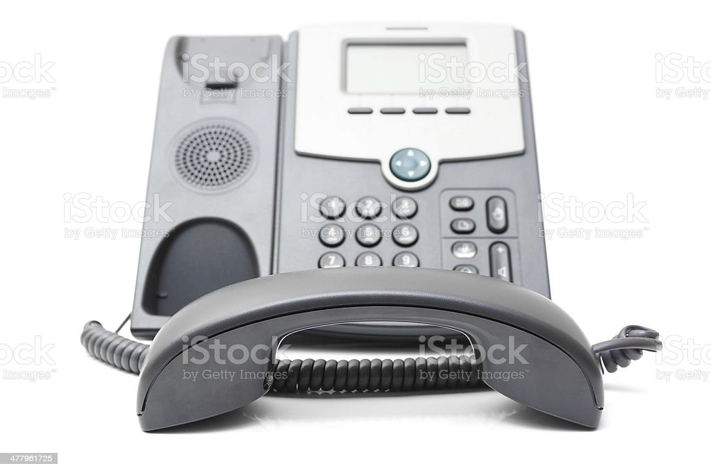 telephone off the hook on a white background royalty-free stock photo