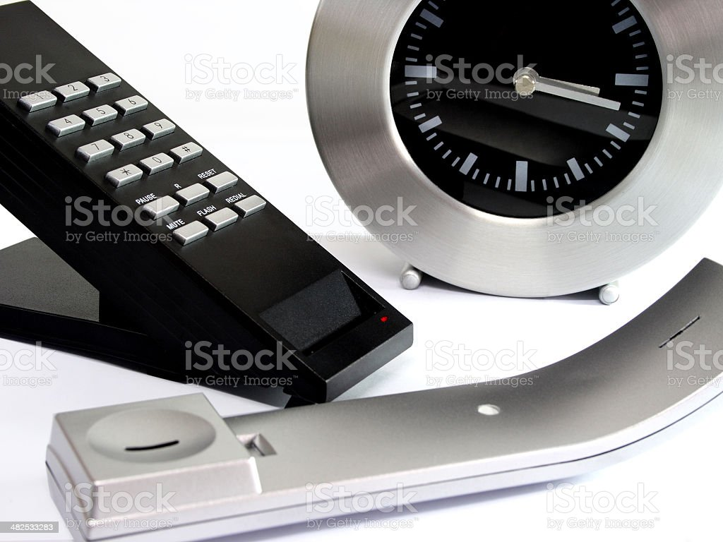 Telephone On Hold with a clock ticking - Business Idea royalty-free stock photo