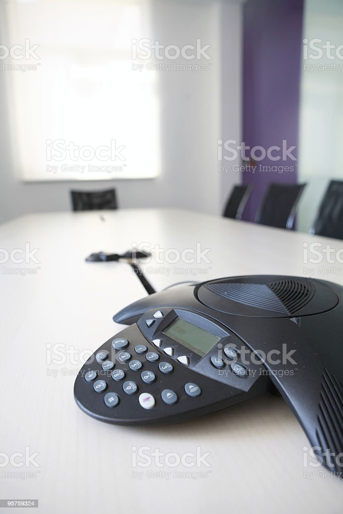 Telephone on the table in the office stock photo