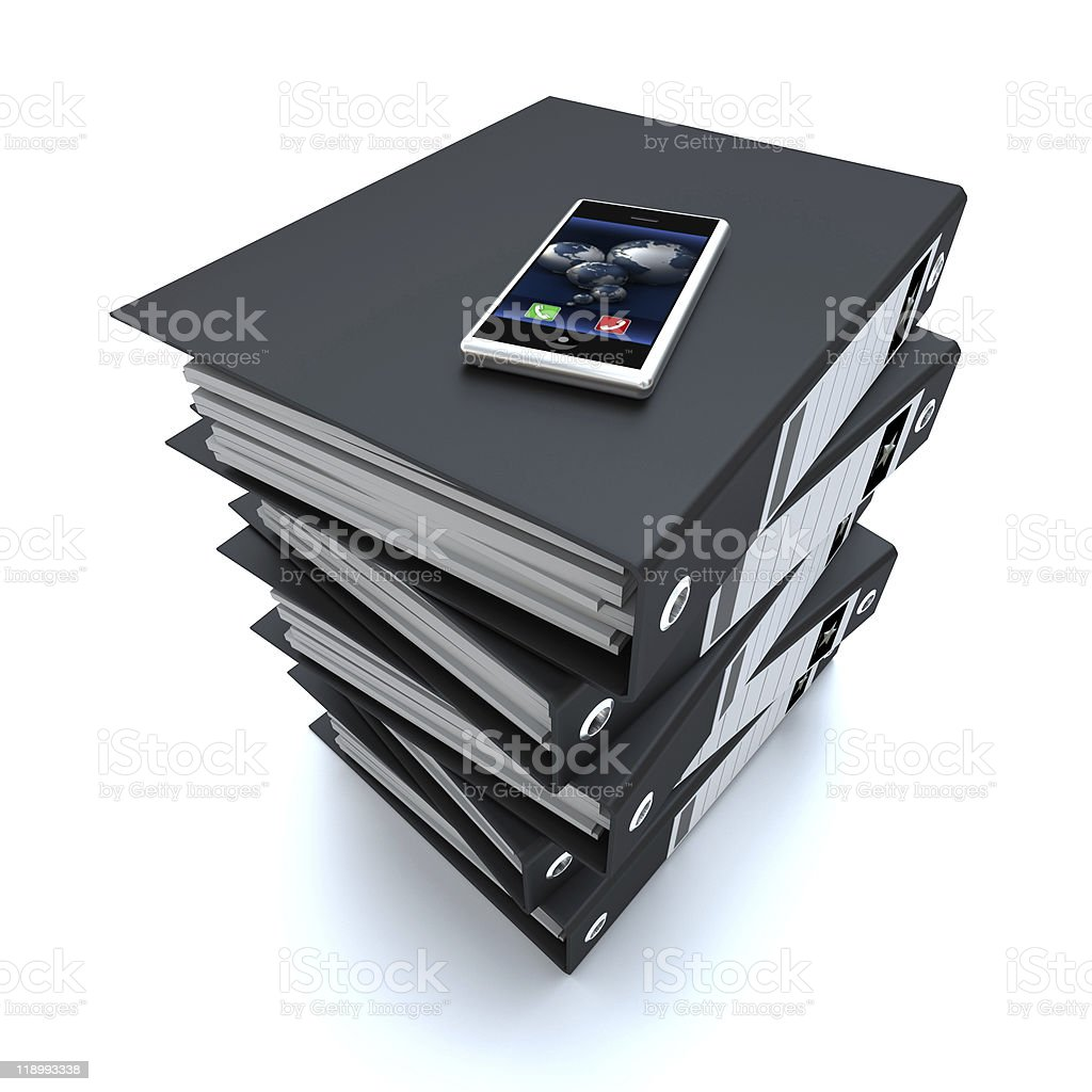 Telephone on top of Ring binders royalty-free stock photo