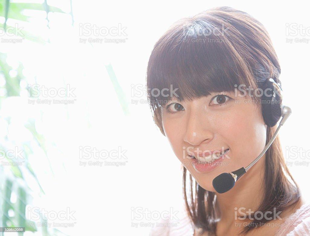 Telephone operator beside window royalty-free stock photo