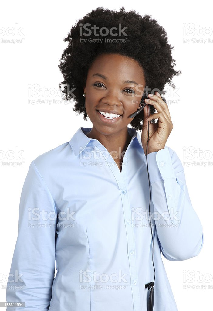 Telephone Operator on a White Background stock photo