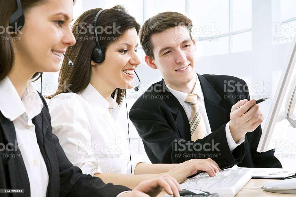 Telephone operators stock photo
