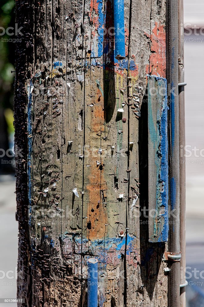 Telephone Pole Ad stock photo