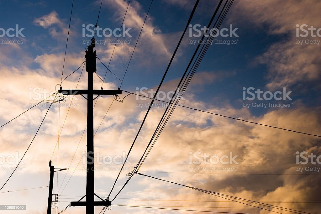 Telephone pole and power lines royalty-free stock photo