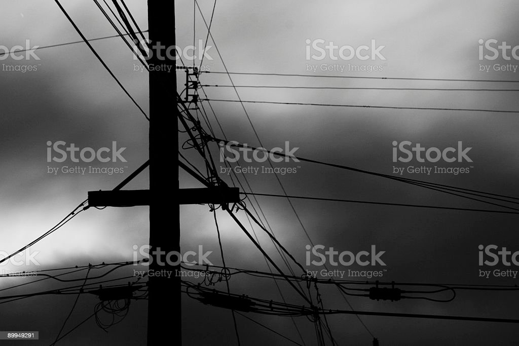 telephone pole and wires royalty-free stock photo