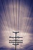 Telephone power pole with strange lighting