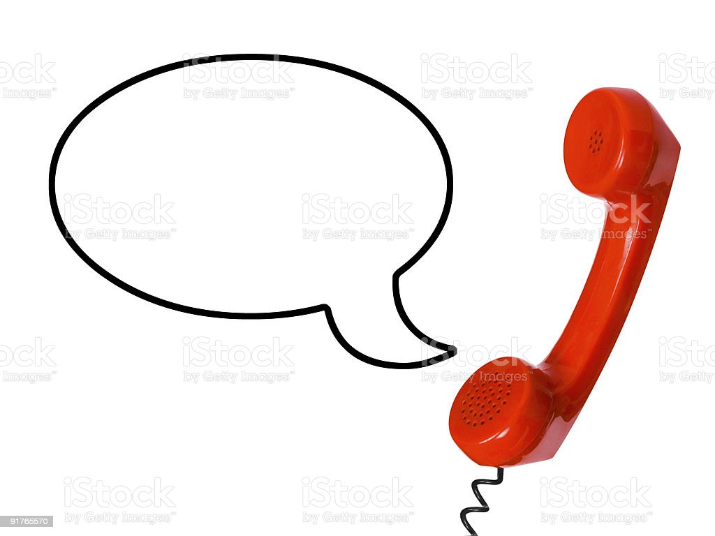 Telephone receiver and speech bubble royalty-free stock photo