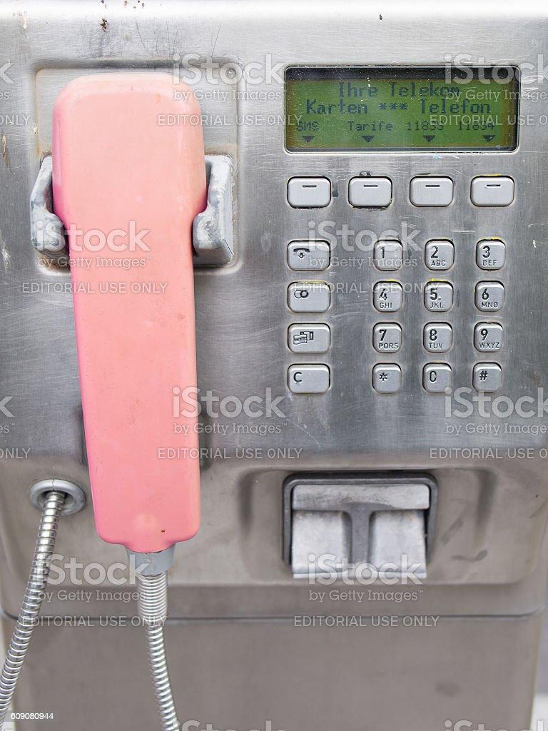 Telephone Receiver In A Telekom Phone Box, Closeup, Berlin, Germany stock photo