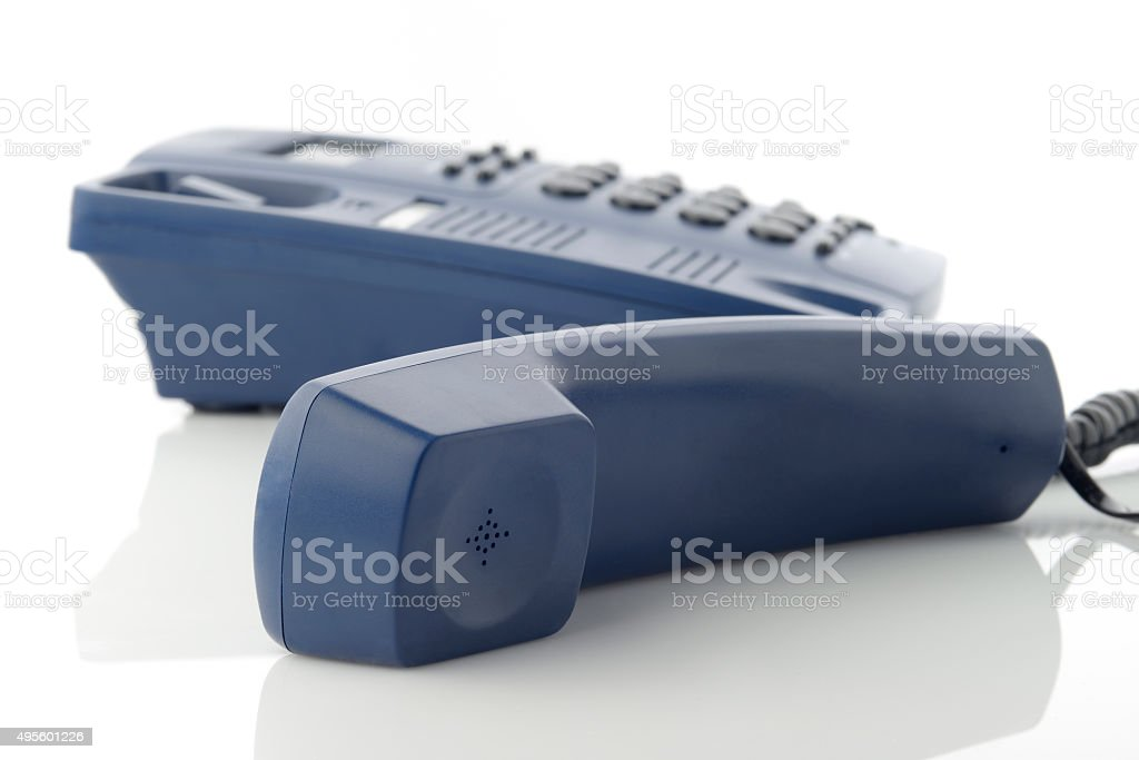 Telephone Receiver on white background stock photo