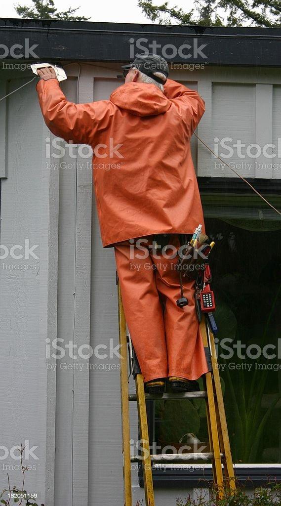 Telephone Repair Worker royalty-free stock photo