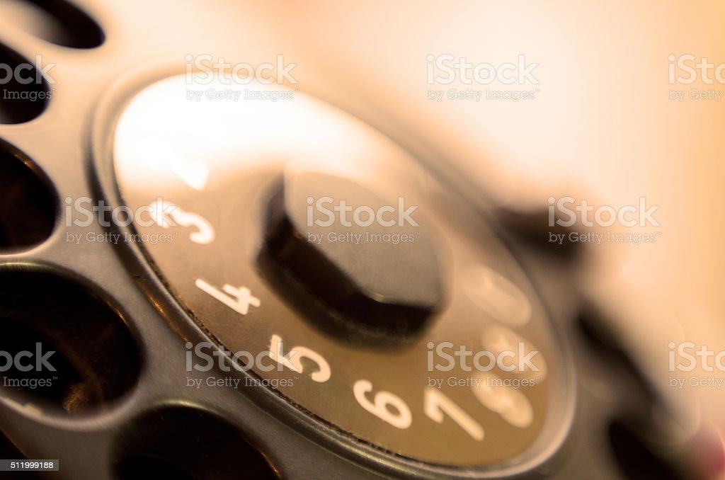 Telephone rotary sepia dial receiver stock photo