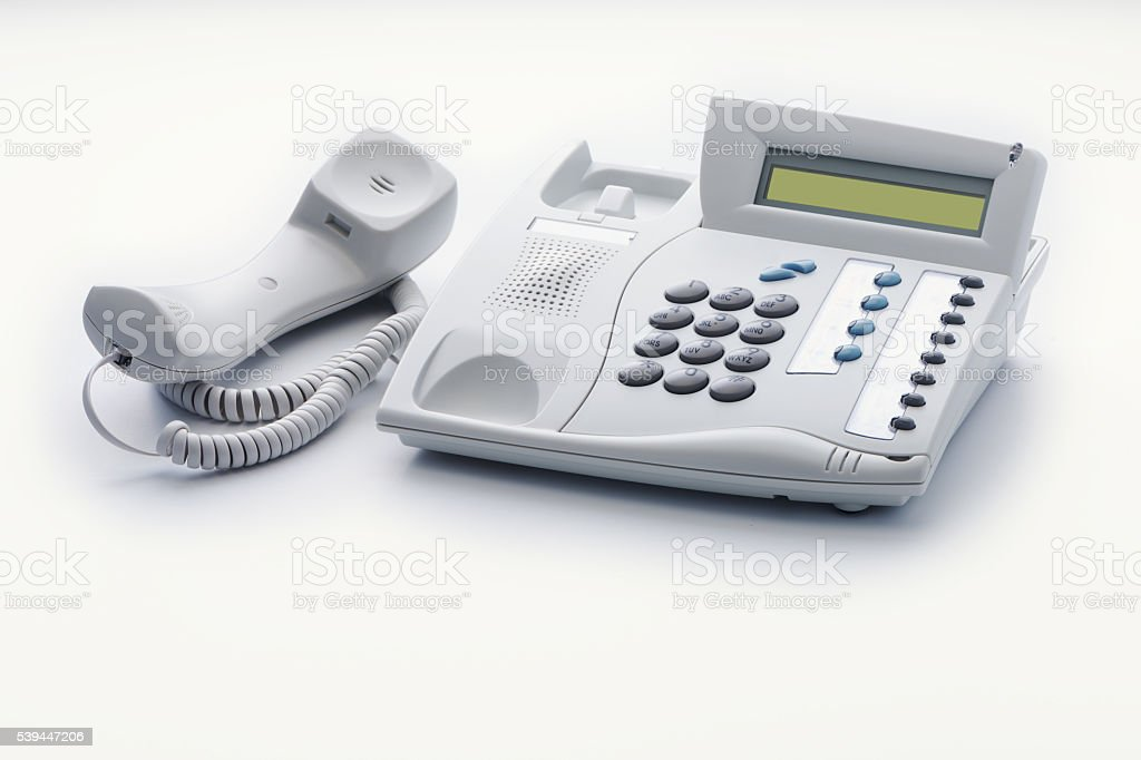 Telephone set of offhook milk white color stock photo