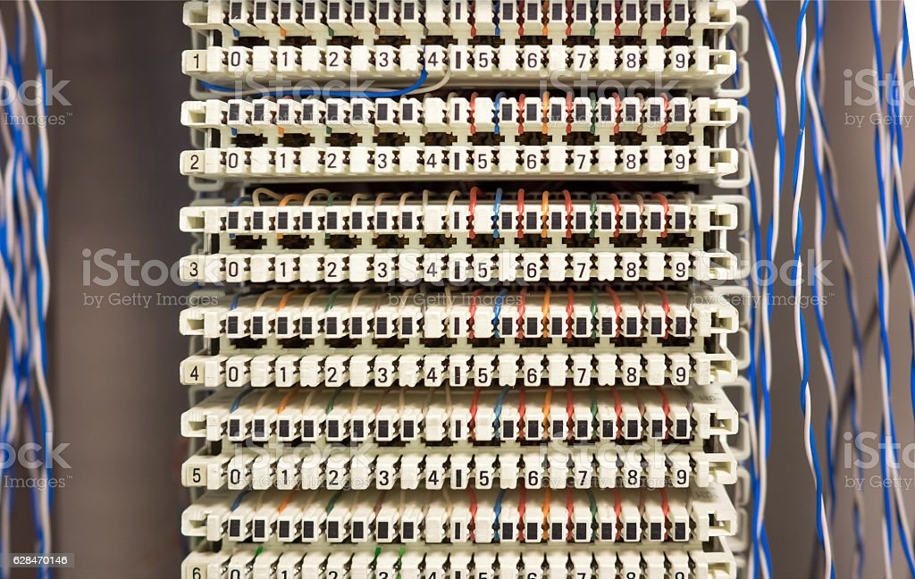 telephone switchboard panel and wires stock photo