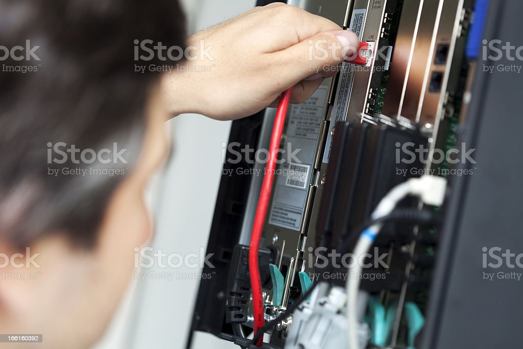Telephone Switchboard - Plugging In royalty-free stock photo