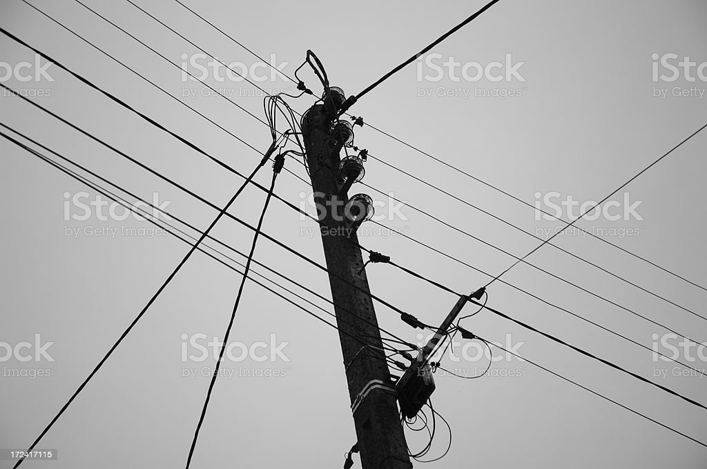Telephone wires (intentionally dark) royalty-free stock photo