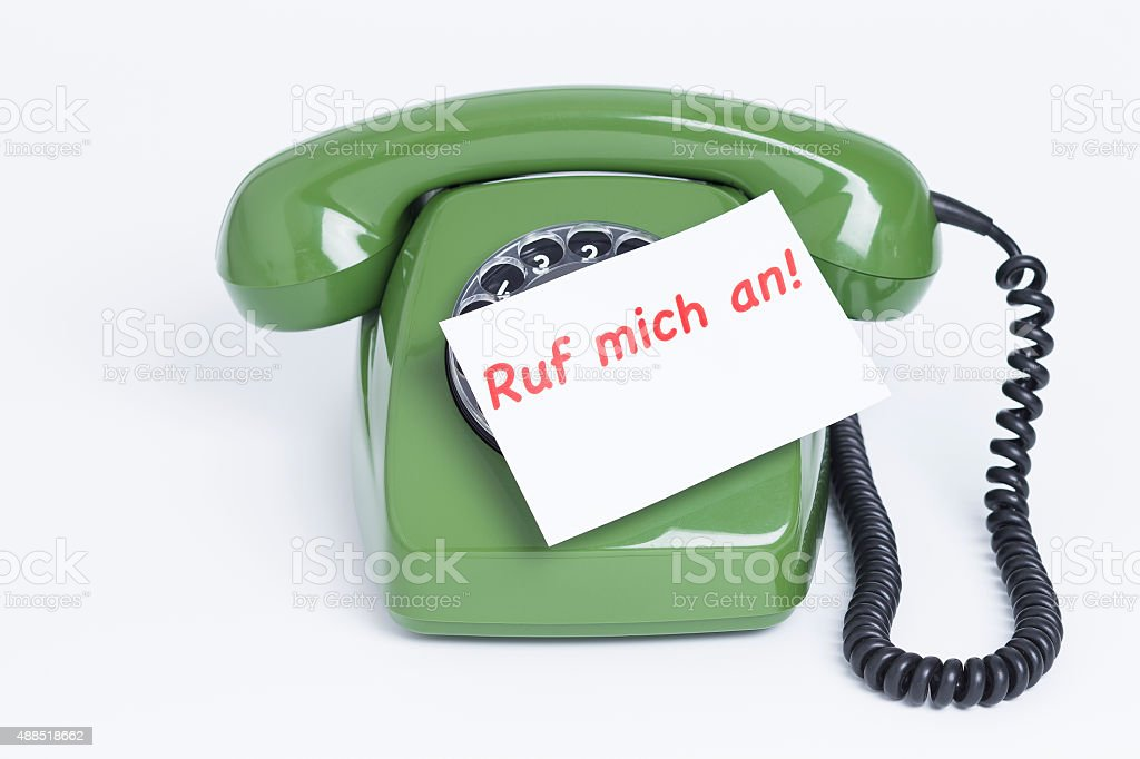 Telephone with note stock photo