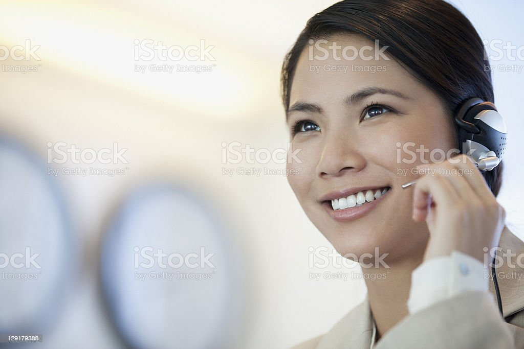 Telephonist working in a stock market royalty-free stock photo
