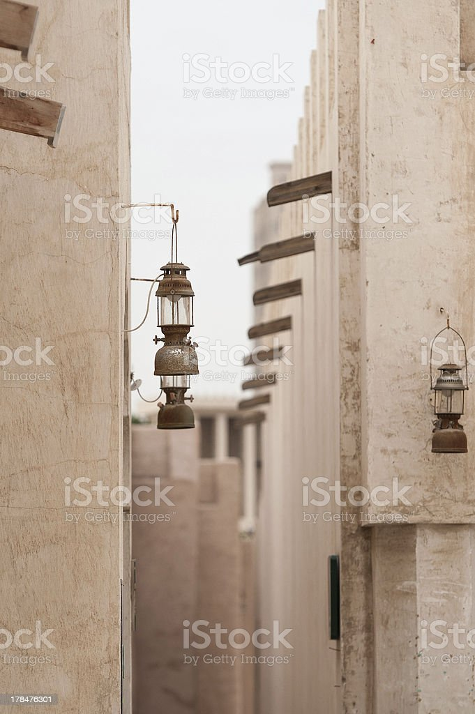 Telephoto image of Arabian Lamps hanging on a wall royalty-free stock photo