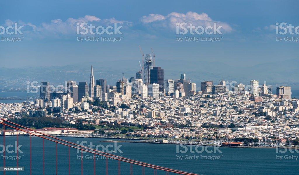 Telephoto image of the Golden Gate Bridge and San Francisco stock photo