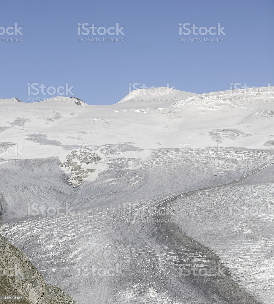 telephoto view of a long Swiss glacier royalty-free stock photo