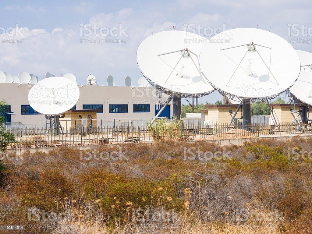 teleport satellite communications stock photo