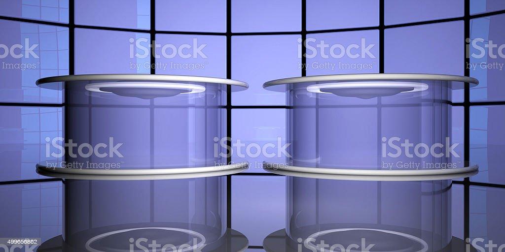 Teleportation capsules, 3d stock photo