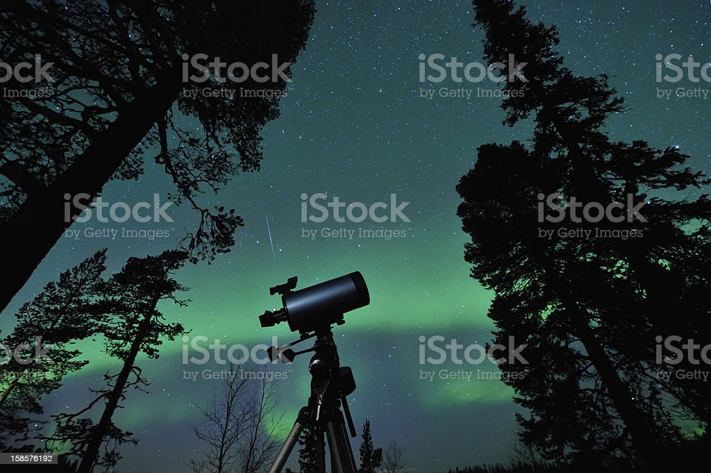 Telescope and sky stock photo