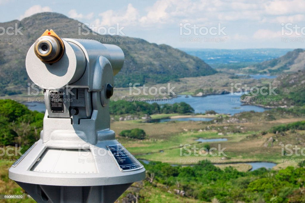 Telescope at Ladies View on the Ring of Kerry, Ireland stock photo