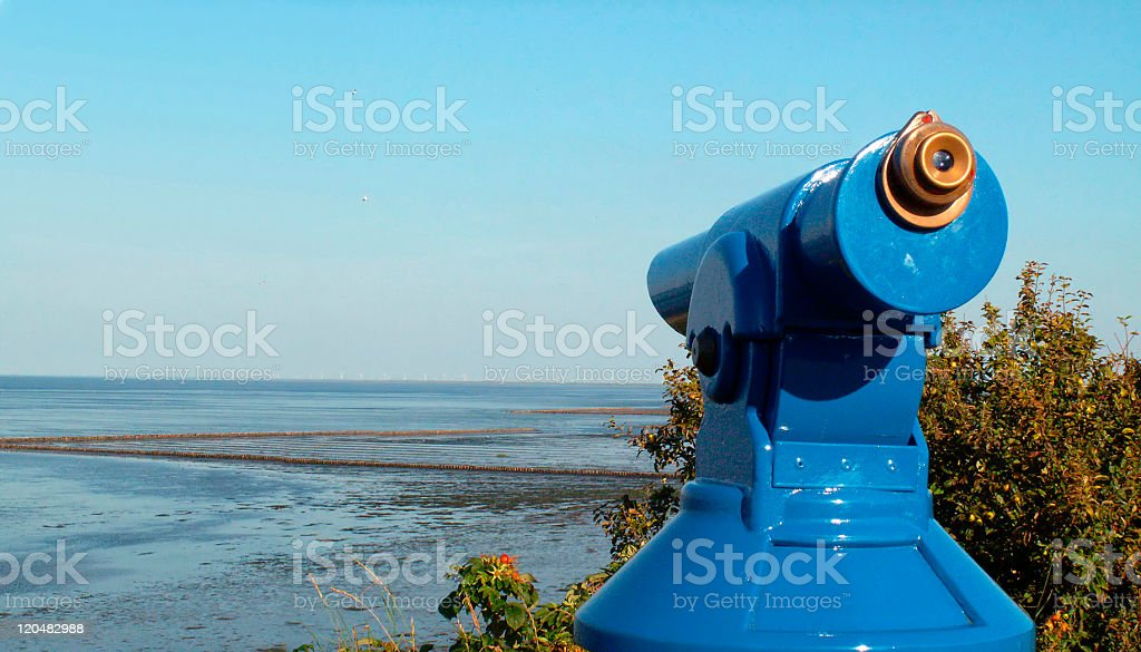Telescope at the beach of Keitum (Sylt, Germany) stock photo