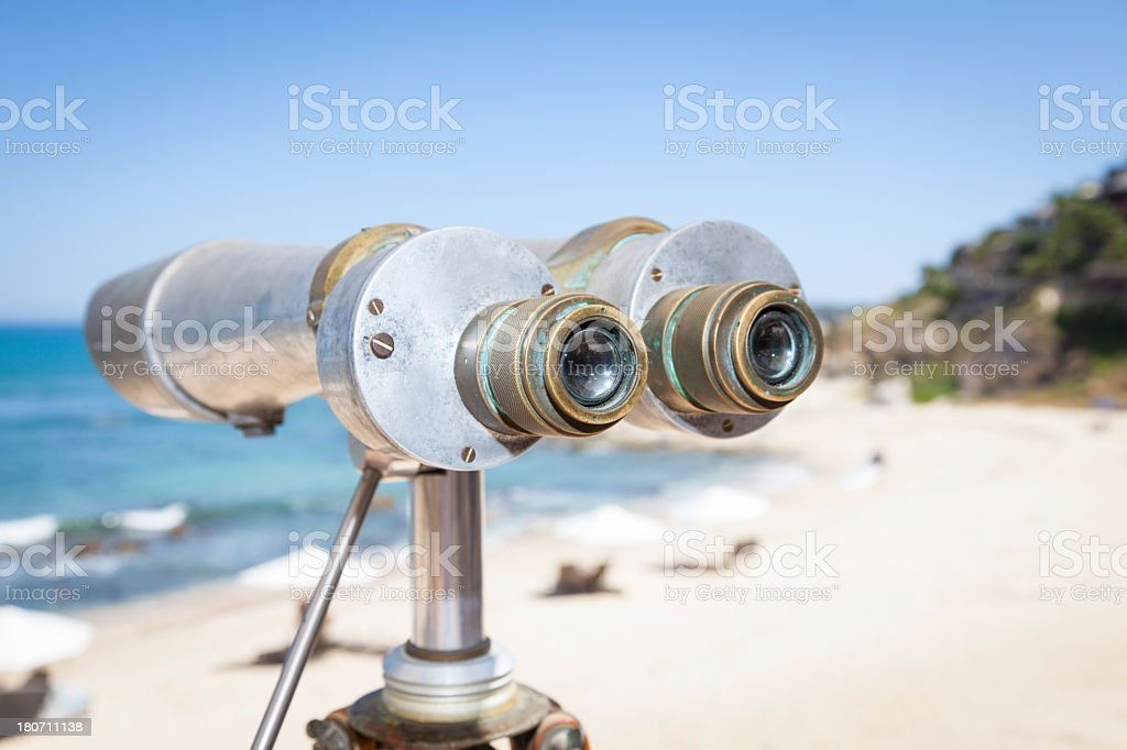 Telescope by Ocean royalty-free stock photo