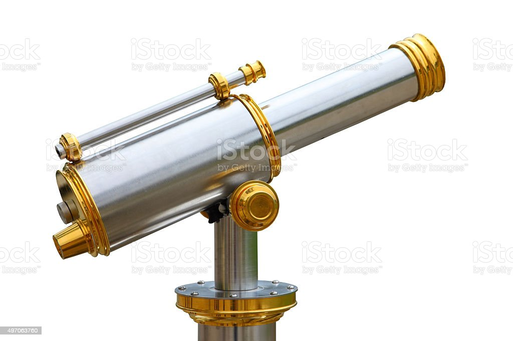 Telescope - Coin Operated Binocular-cut out stock photo