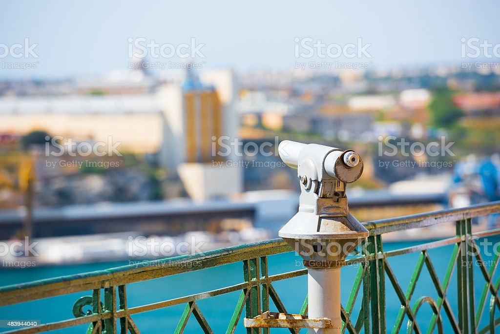 telescope for viewing city attractions stock photo